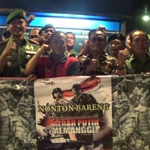 Kodim 0809/Kediri Nobar Perdana Merah Putih Memanggil