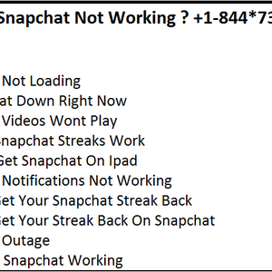 Why Is Snapchat Not Working ? +1-844*738*0444 Dial