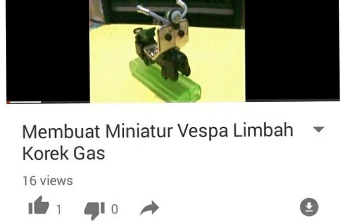 Seni Daur Ulang Limbah Korek Menjadi Miniatur Motor