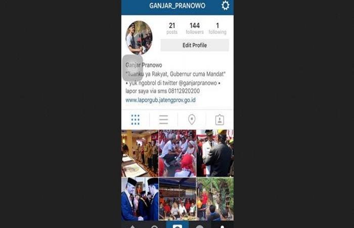 Inilah Profil Terbaru Ganjar Pranowo Instagram