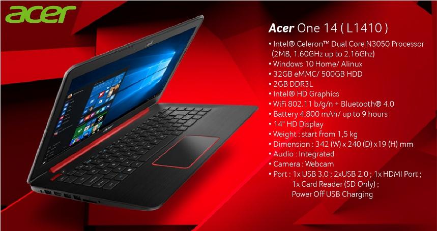 Laptop Acer One 14 (L1410), Baterai Bisa Tahan 9 Jam Harga 3 Jutaan